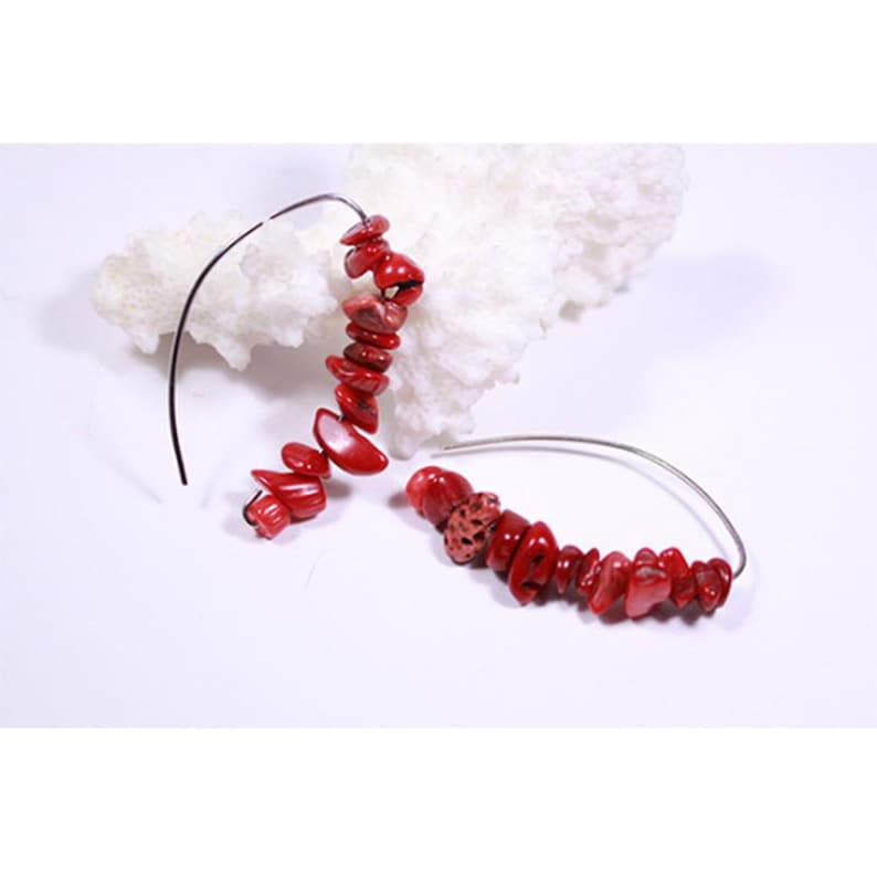 red coral earrings  mother day gift  raw stone earrings  image 0