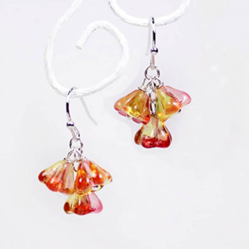 Sparkly Orange Earrings Silver Red Jewelry Gift for Her  image 0