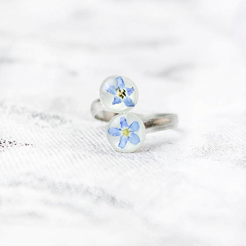 Sky Blue Ring  Spiral Double Ring  Band Flower Jewelry For image 0