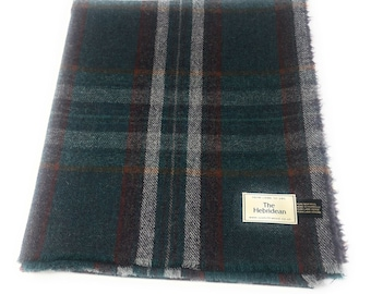 cef33ccb6023 Pure Wool Tweed Blanket Bedspread Throw Green Large Checked Plaid
