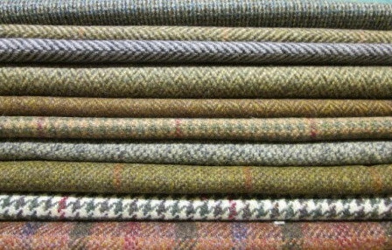 Tweed Fabric Patchwork Patches 20 Squares 23 cm x 23 cm 100/% Pure Wool