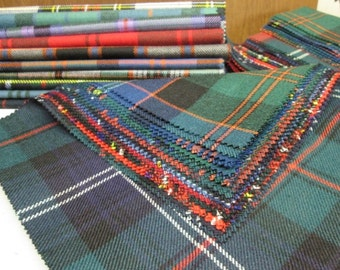 Tartan Fabric Patchwork Patches 20 Squares 23 cm x 23 cm 100% Pure Wool