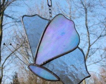 Stained Glass butterfly suncatcher, blue, window decoration, garden decor