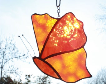 Stained Glass butterfly suncatcher, orange // red