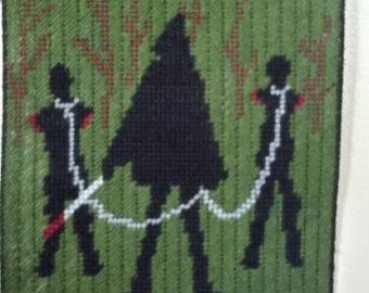 The Walking Dead Michonne walker silhouette wall hanging