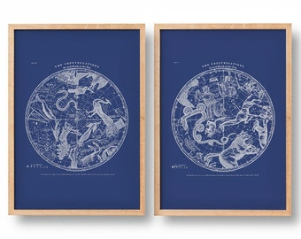 Constellation Posters. Modern Vintage Southern Hemisphere and Northern Hemisphere. Set of 2. Diptych. Astronomy Print. Star Map.