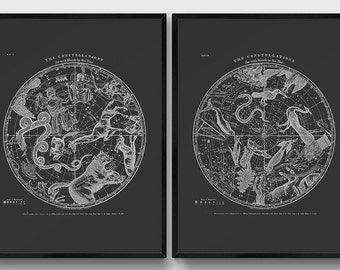 Constellation Posters. Modern Vintage Southern and Northern Hemisphere Prints. Set of 2. Diptych Print. Astronomy Black Print. Star Map.