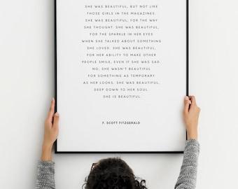 F. Scott Fitzgerald Quote. She Was Beautiful. Literary Inspirational Romantic Love Print. Typography Print. Modern White Minimal Décor.