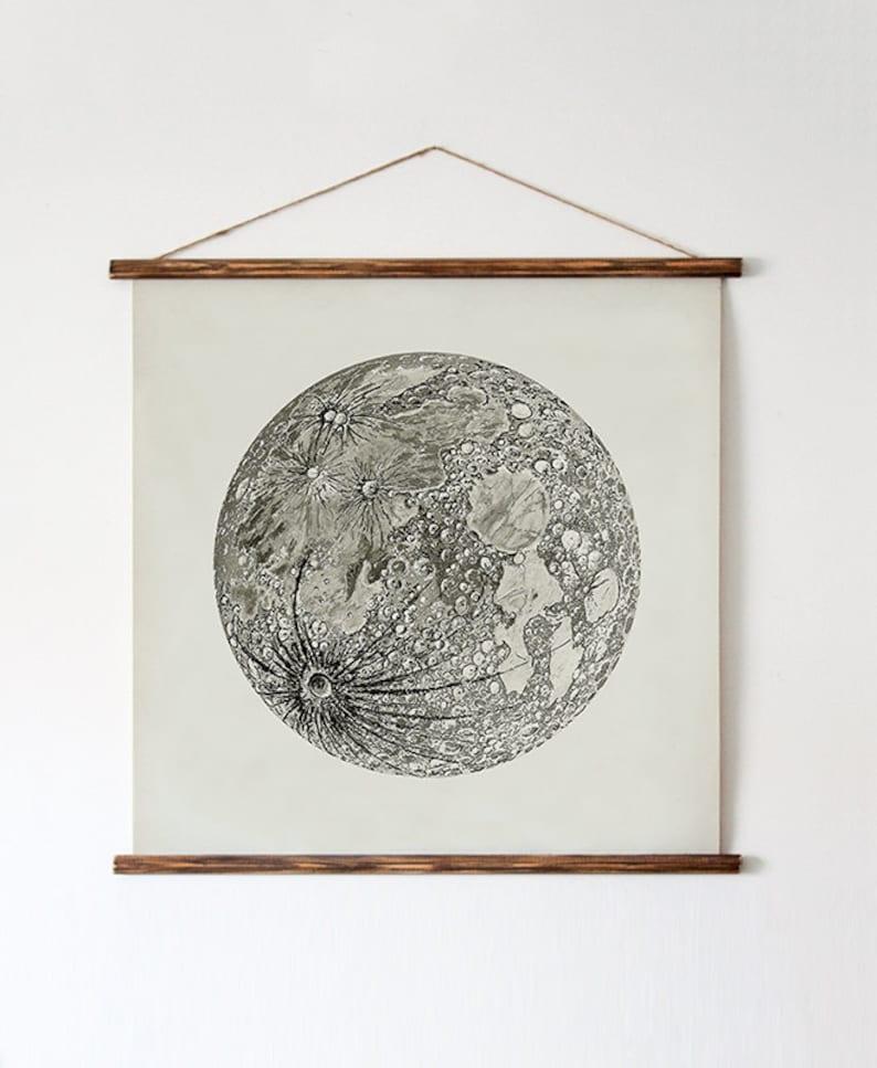 Full Moon Poster. La Luna Moon. Beige Moon. Vintage Luna image 0