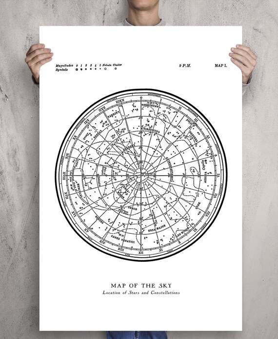 Star Map Constellations Poster. Map of the Sky. Modern Vintage Astronomy Map Of The Sky Poster on star map poster, constellation map poster, michigan lighthouse map poster,