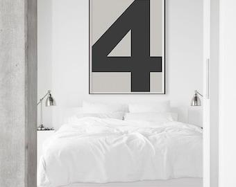 Number 4 Typography Printable Poster - Instant Download. Scandinavian Print. Nordic Design Print. Nursery Black Grey Minimal Wall Art.