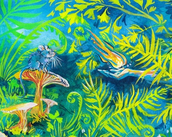 """Colorful Enchanted Forest Illustration 8"""" x 10"""" Whimsical Art Print"""