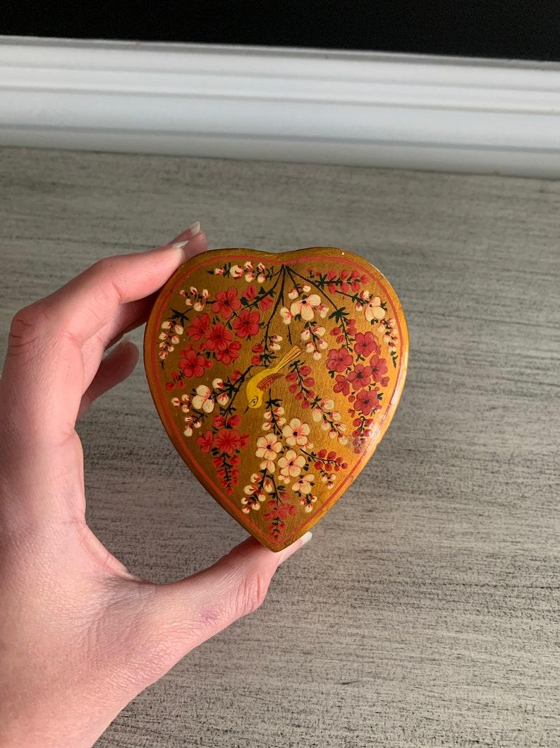 Vintage Kashmir India Heart Trinket Box