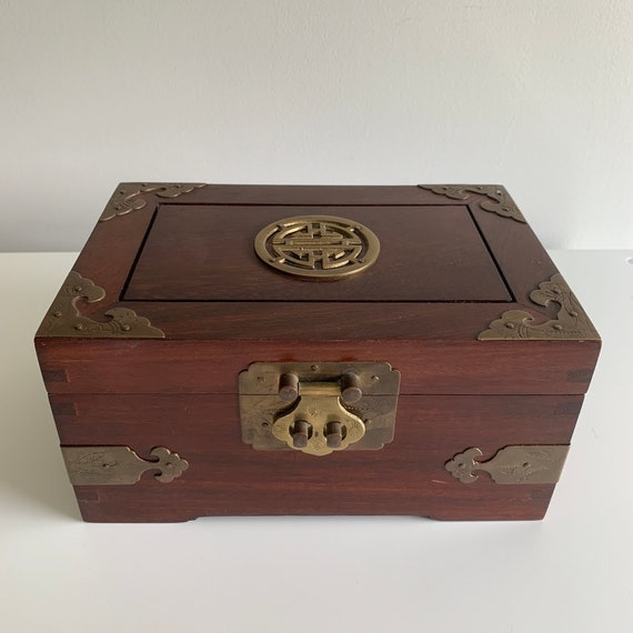 Vintage Chinoiserie Wooden Jewelry Box