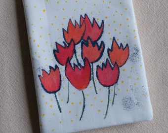 needle case - Flowers with yellow spots  hand made  cotton fabric with lift drawing and fabric paint