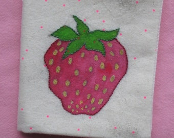 needle case - Strawberry -  hand made - cotton fabric with fabric paint and embroidery