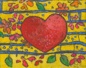 tiny canvas - heart - good day sunshine