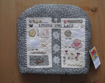 Linens & Lace: Teacosy created with printed and appliqued fabric