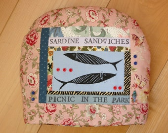 Picnic in the Park:  Teacosy created with printed and appliqued fabric
