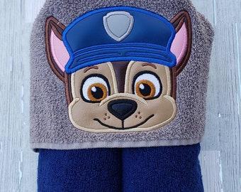 Hooded Towel, Kid's Hooded Towel, Chase Hooded Towel, Police Pup, Paw Patrol Towel, Paw Patrol Beach Towel, Paw Patrol Pool Towel
