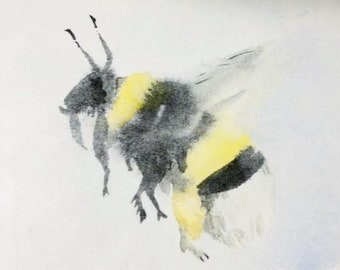 Original tiny painting of bumblebee in flight watercolour insect fine art