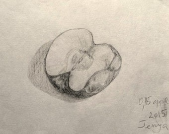 Original drawing - 0.45 apple - charcoal pencil on thin paper - black and white little fruit art