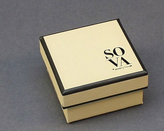 50 pcs branded jewelry boxes with bottom and lid, Small square jewelry box for jewelry, Custom jewelry packaging with logo, Handmade boxes