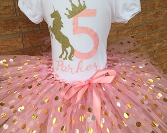Fifth Birthday Shirt 5th Outfit Girls Unicorn Party 5 Year Old Pink And Gold Crown