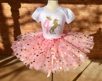 Fourth Birthday Shirt 4th Outfit Girls Unicorn Party 4 Year Old Pink And Gold Crown