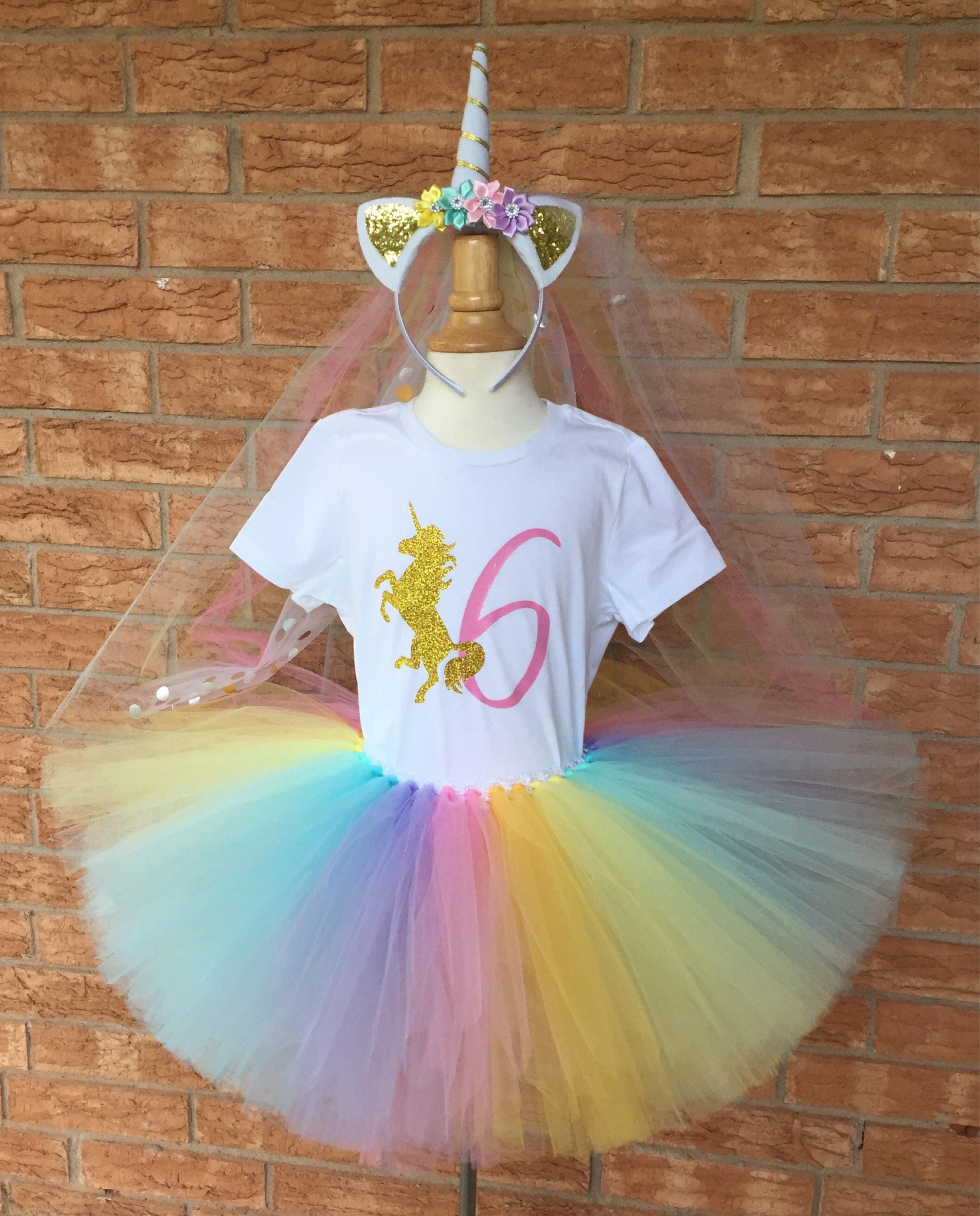 Birthday Party Outfit: Girl's Unicorn Birthday Outfit 6th Birthday Tutu Rainbow