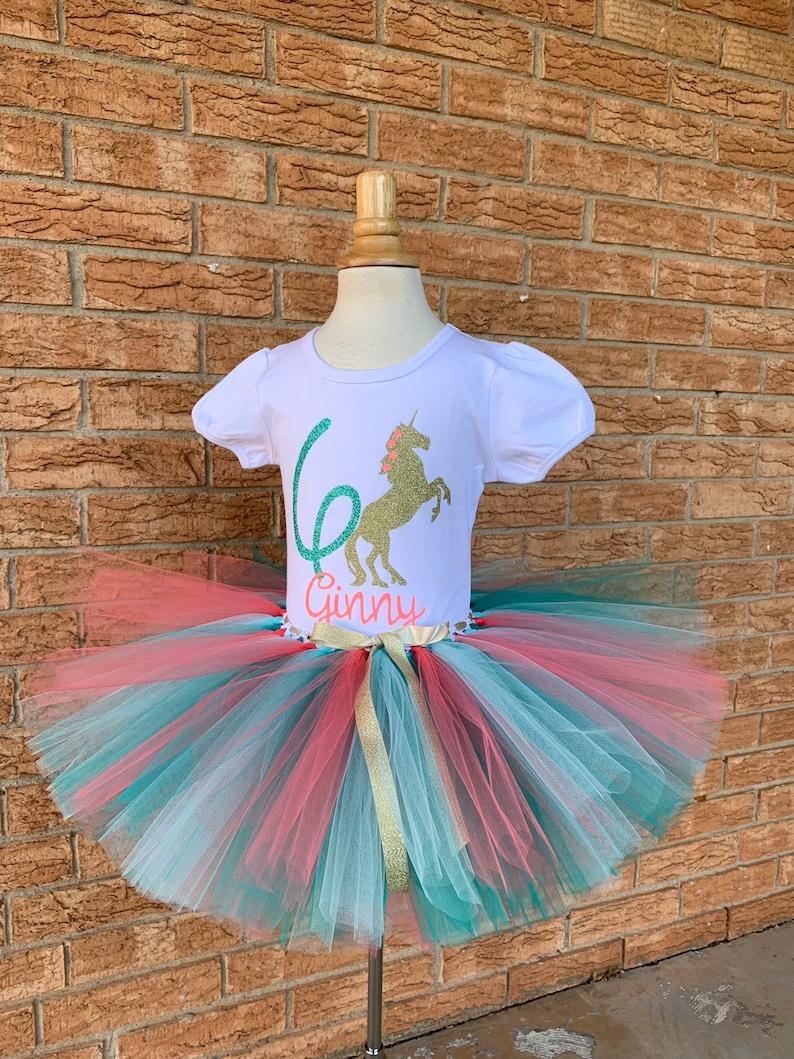 fb2c0ab8e0 Girl's unicorn birthday outfit 6th Birthday tutu rainbow | Etsy