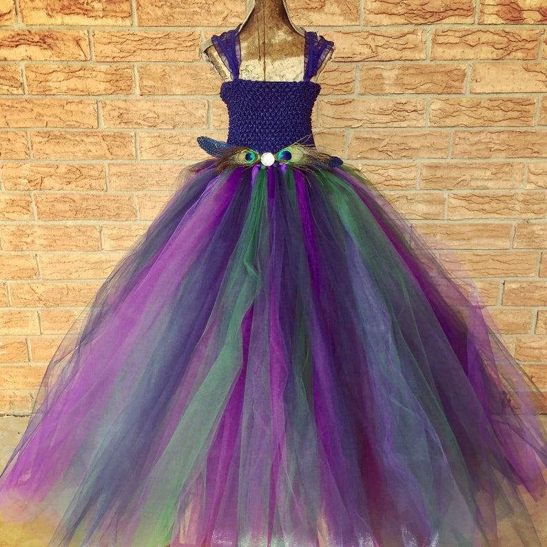 286e04e64d2 Peacock flower girl dress navy and purple tutu dress flower