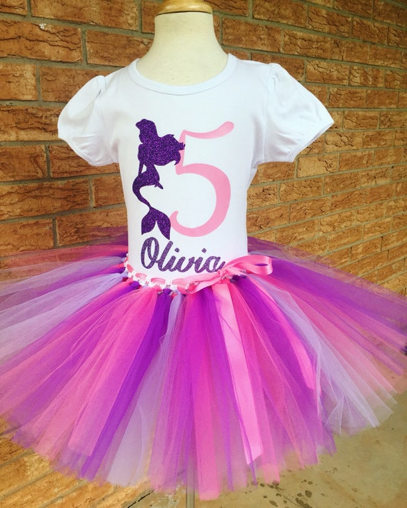 Girls Fifth Mermaid Birthday Outfit 5th Tutu