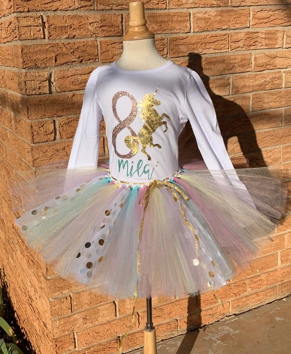Fairytale unicorn girls outfit. Dress for unicorn outfit party for junior Rainbow tutu dress for 8th birthday unicorn party