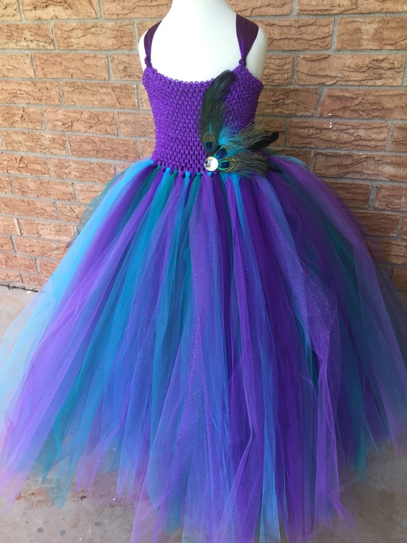 59fe6eb14406 Purple plum Peacock wedding Peacock flower girl dress teal | Etsy