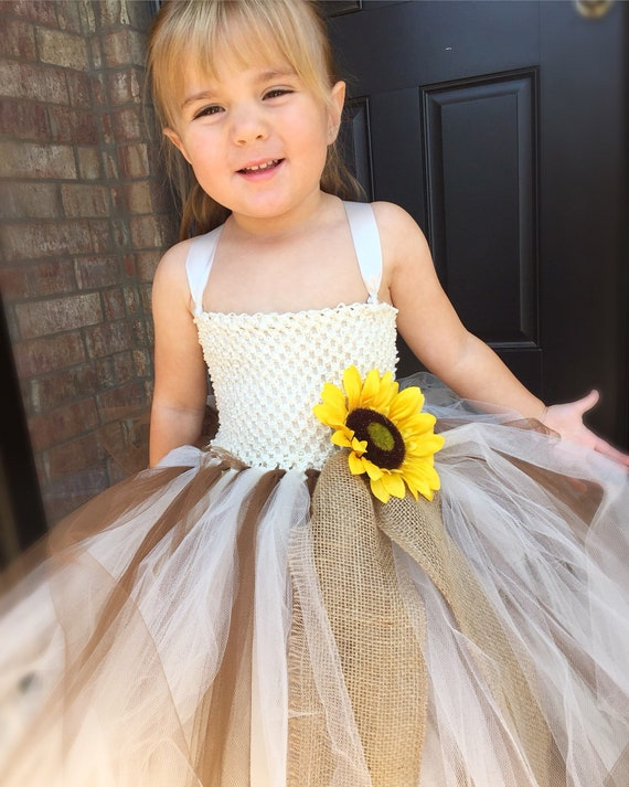 6c9cbf1d55a Sunflower burlap wedding dress ivory tutu dress country