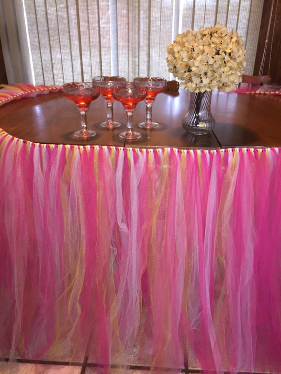 Pink Table Tutu Skirt Table Decoration Baby Shower Table Party Decor Table Skirt Birthday Table Tutu Lemonade Party Pink And Yellow