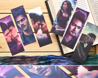 Shadowhunters metallic pearlescent bookmarks   Alec, Magnus, Izzy, Clary & Jace   art bookmarks