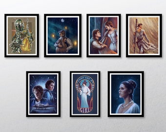 Star Wars Art Prints   Han & Leia, Boba Fett, Rey   A Galaxy Far, Far Away...