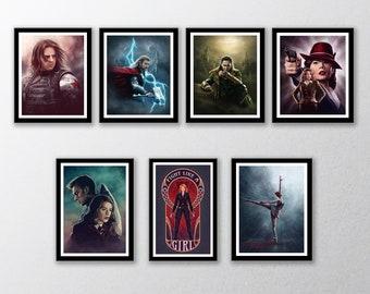 Marvel Avengers Art Prints   Winter Soldier, Agent Carter, Loki, Thor, Captain America, Black Widow   Marvel Characters