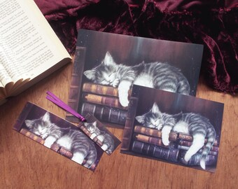 Keeper of the Books - art prints and bookmark, kitten bookmark