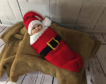 Knit Baby Cocoon - Baby Santa Set - Baby Cocoon - Newborn Cocoon - Newborn Nest - Christmas Baby Outfit - Cocoon - Baby Photo Prop