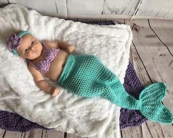 Mermaid Baby Outfit - Baby Mermaid Costume - Baby Mermaid Outfit - Newborn Mermaid Tail - Newborn Mermaid Outfit - Baby Shower - Mermaid Set