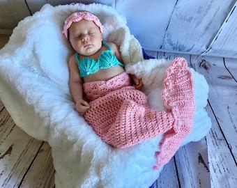 Baby Mermaid Outfit - Newborn Mermaid Tail - Baby Mermaid Tail - Newborn Mermaid Outfit - Baby Photo Prop - Newborn Photo Prop - Baby Shower