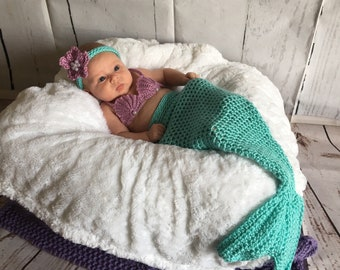 Mermaid Outfit Baby - Baby Mermaid Costume - Baby Photo Prop - Newborn Mermaid Tail - Baby Mermaid Tail - Cosplay - Mermaid Set - Mermaid