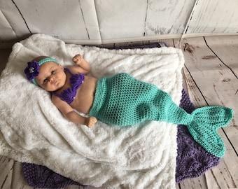 Mermaid Baby Costume - Baby Mermaid Costume - Newborn Mermaid Tail - Baby Mermaid Set - Baby Mermaid Outfit - Newborn Photo Prop - Baby Girl