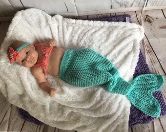 Newborn Mermaid - Baby Mermaid Tail - Newborn Mermaid Tail - Baby Photo Prop - Baby Photo Outfit - Newborn Photo Outfit - Baby Mermaid Prop