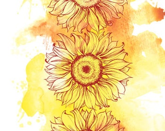 Sunflowers Watercolor Art