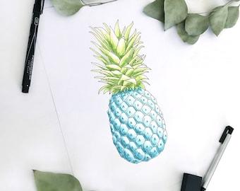 Pineapple Print. Blue Pineapple Print. Pineapple Illustration. Pineapple Wall Art. Pineapple Decor. Blue Pineapple Art. Tropical Wall Art