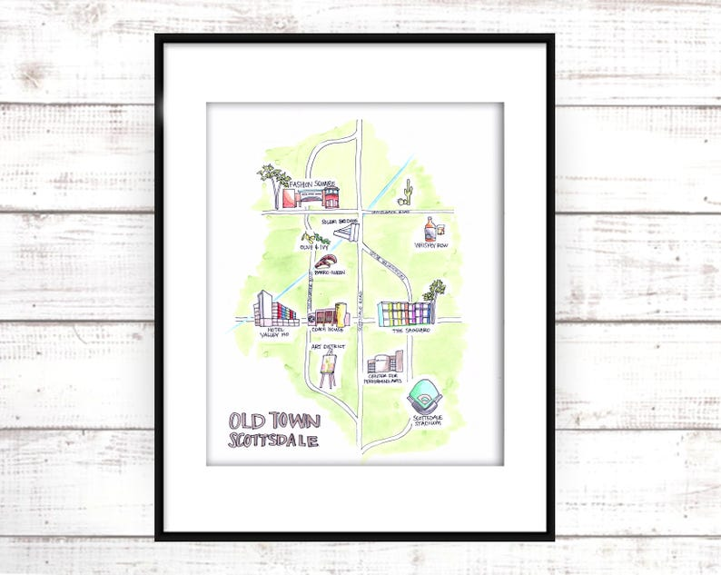 picture about Printable Arizona Map titled Illustrated Map. Arizona Map. Printable Map Artwork. Scottsdale Illustrated Map. Housewarming Present. Transferring Present. Scottsdale Map. Hand Drawn Map